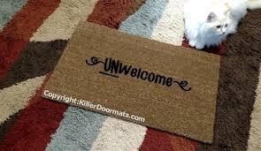 Geek Doormat Unwelcome Custom Funny Rude Handpainted Doormat By Killer Doormats