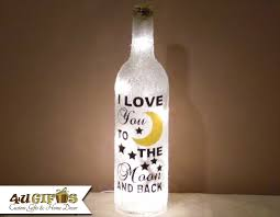 i love you to the moon and back lighted wine bottle