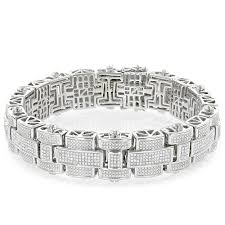 bracelet gold man silver images Mens silver diamond bracelet 3 25 ct jpg