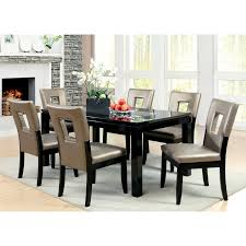 furniture of america vanderbilte 7 piece wood with glass inlay