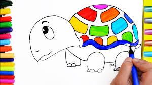 draw color paint cute rainbow turtle coloring pages and learn to