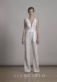 wedding dress jumpsuit lace jumpsuit with plunging v neckline liancarlo 6875 http