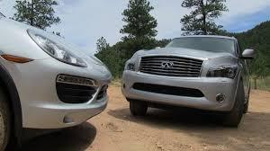 compare infiniti qx56 and lexus lx 570 2012 porsche cayenne s vs infiniti qx56 off road muddy mashup
