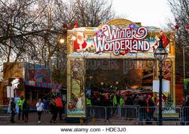 entrance to the winter hyde park stock photo