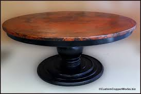 60 Pedestal Table Large Round Copper Top Dining Table Wood Pedestal Table Base 1