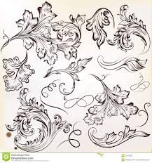 set of vector calligraphic swirl ornaments for design royalty free