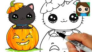 how to draw a kitten for halloween easy youtube