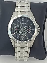 bulova bracelet images Men 39 s bulova 96c107 stainless steel bracelet black chronograph jpg