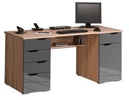 bureau bois bureau design en bois et gris laqué 1 porte 5 tiroirs waki