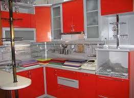 Red Colour Kitchen - kitchen paint colors combination between red and silver two tone