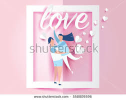 Design For Valentines Card Love Valentines Day Young Joyful Couple Stock Vector 558809596