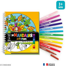 Kit coloriage Mandalas pour enfant  Carnet de coloriage et feutres