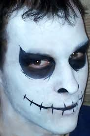 creepy jack skellington face paint for halloween base done in