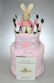 baby two tier nappy cake with flopsy bunny soft toy peter