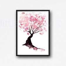 cherry blossom tree print watercolor painting print pink wall