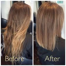 before and after soft creamy ombre with a blunt lob cocohoney