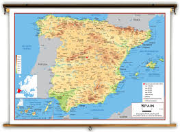 Spain Map World by Spain Physical Educational Wall Map From Academia Maps