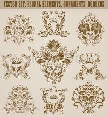 set of vector damask ornaments floral elements
