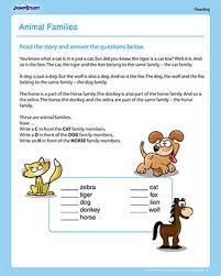 animal families u2013 printable 1st grade reading worksheet u2013 jumpstart