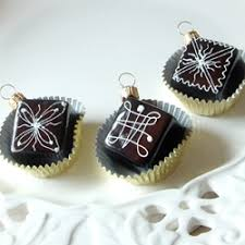 chocolate petit fours ornament by rnaments to remember