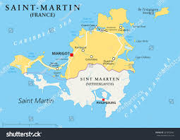 The Caribbean Map by Saintmartin Country Political Map Northern Part Stock Vector