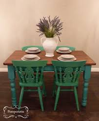 Painted Dining Table by Green Painted Dining Chairs