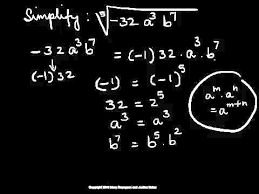 simplify radical expression fifth root with negative and