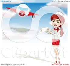 cartoon of a stewardess holding a paper and standing under an