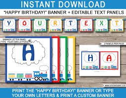 train party banner template happy birthday banner editable bunting