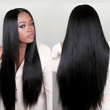 long black hair with part in the middle kilimall long straight hair wig big volume full wig synthetic for