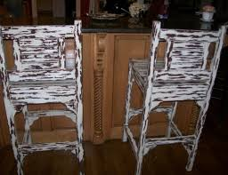 stool brown painted pine wood bar stool with ladder backrest