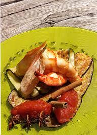 cuisiner avec la plancha gambas cameron à la plancha confiture de tomate et pesto de