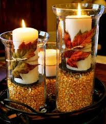 jar table decorations autumn table centerpiece decoration with white candles on