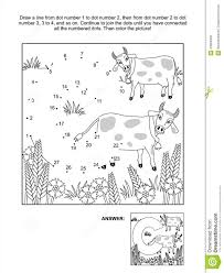 dot to dot and coloring page letter c cows and cornflowers