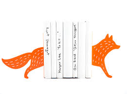 Be Right Back Bookend Metal Bookends Reading Fox Woodland Theme Decor