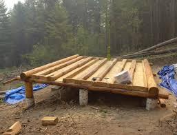 cabin floor grid log cabin build floor construction