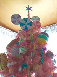 pink christmas tree topper big peppermint lollipops handmade me