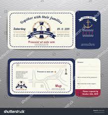 Rsvp On Invitation Card Nautical Ticket Wedding Invitation Rsvp Card Stock Vector