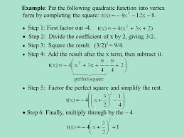 example put the following quadratic function into vertex form by completing the square perfect