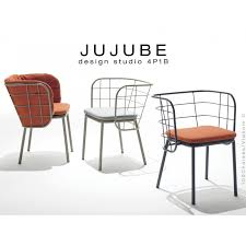 chaise tress e jujube chaise design structure acier peint avec coussin d assise