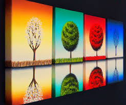 simple canvas paintings four seasons painting contemporary art oil set