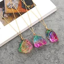 crystal rock pendant necklace images Necklace rainbow stone natural crystal rock necklace gold quartz jpg