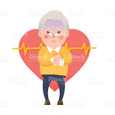old man heart attack chest pain cartoon character stock vector art