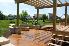 Concrete Patio Color Ideas by Concrete Patio Seating Acid Stained Concrete Patio Pergola