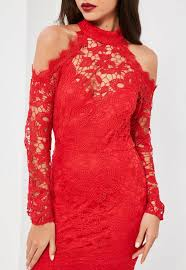 red lace cold shoulder bodycon dress missguided