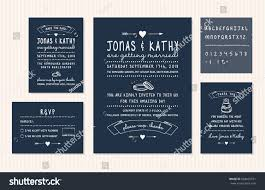 Invitation Card With Rsvp Vintage Wedding Invitation Design Set Invitation Stock Vector
