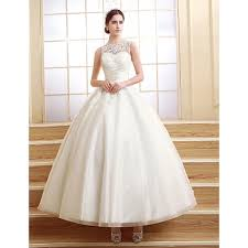 ball gown petite wedding dress ankle length scalloped edge tulle