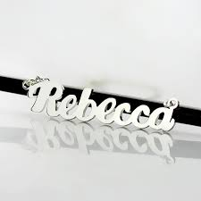Personalized Name Necklace Sterling Silver Personalized Silver Puff Font Name Necklace