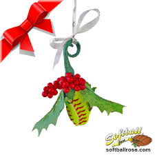 Softball Christmas Ornament - rose holiday mistletoe