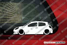 renault clio sport 2x low car outline stickers renault clio sport rs 197 mk3
